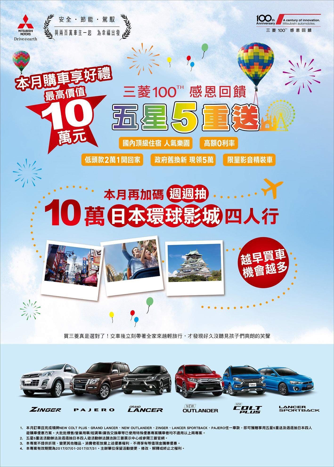 【新事】五星五重送,買Mitsubishi最高享10萬好禮再抽日本四人行